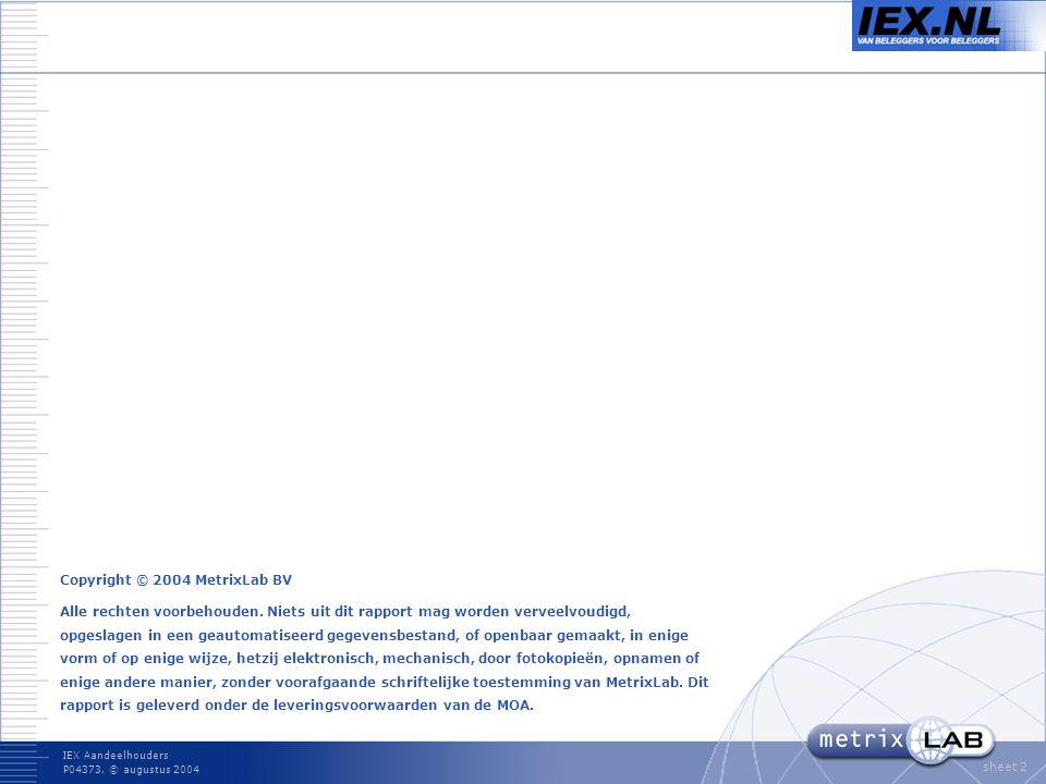 IEX Aandeelhouders P04373, © augustus 2004 sheet 2 Copyright © 2004 MetrixLab BV Alle rechten voorbehouden.