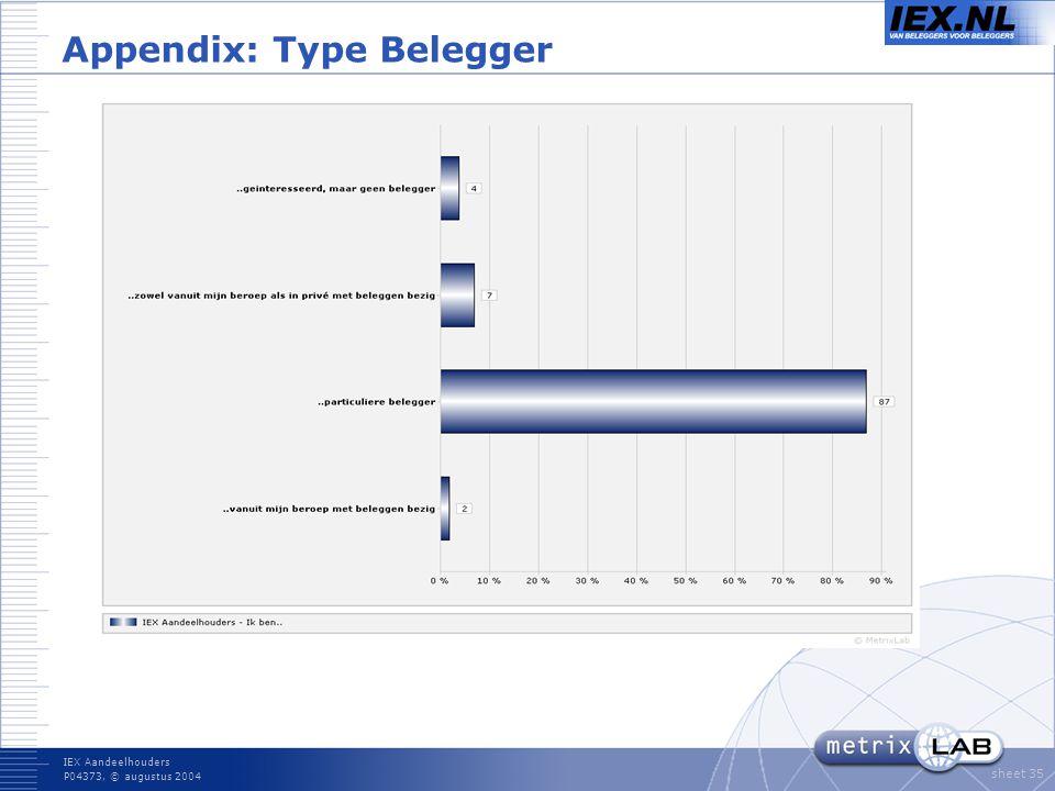 IEX Aandeelhouders P04373, © augustus 2004 sheet 35 Appendix: Type Belegger