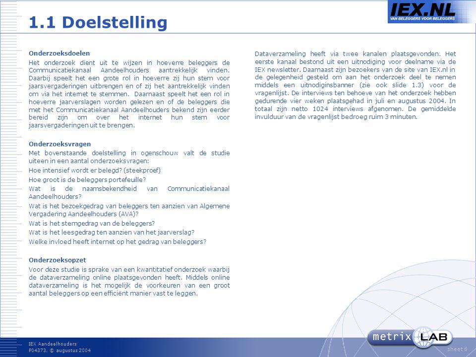 IEX Aandeelhouders P04373, © augustus 2004 sheet 6 1.1 Doelstelling Onderzoeksdoelen Het onderzoek dient uit te wijzen in hoeverre beleggers de Communicatiekanaal Aandeelhouders aantrekkelijk vinden.