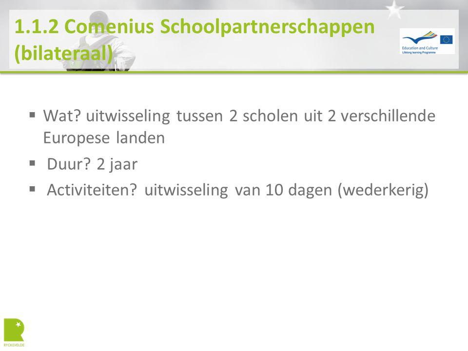 1.1.2 Comenius Schoolpartnerschappen (bilateraal)  Wat? uitwisseling tussen 2 scholen uit 2 verschillende Europese landen  Duur? 2 jaar  Activiteit