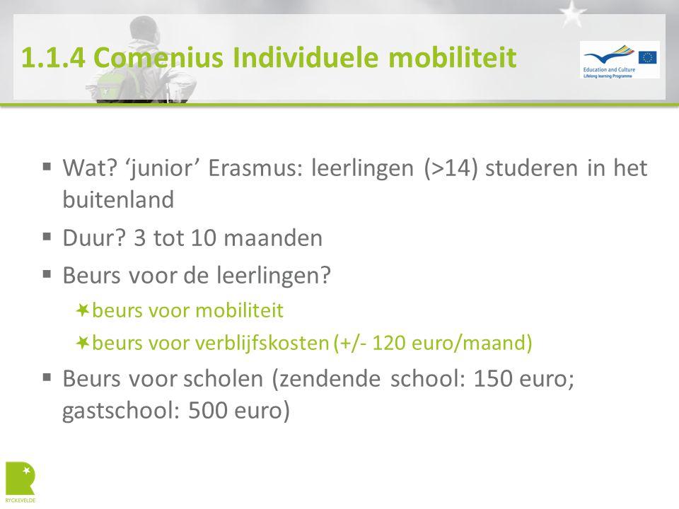 1.1.4 Comenius Individuele mobiliteit  Wat? 'junior' Erasmus: leerlingen (>14) studeren in het buitenland  Duur? 3 tot 10 maanden  Beurs voor de le