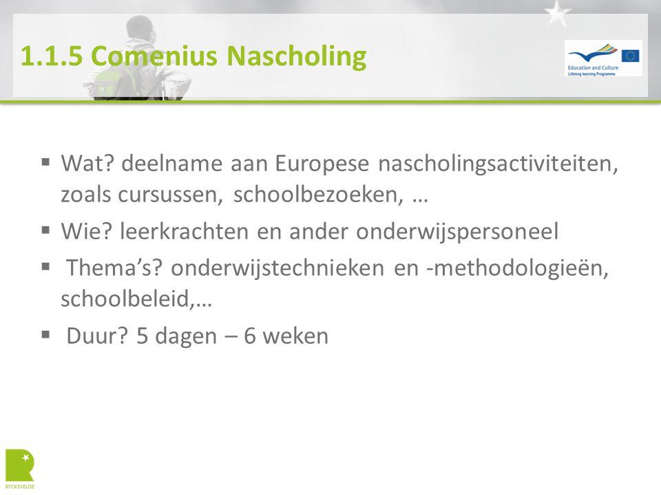 1.1.5 Comenius Nascholing  Wat? deelname aan Europese nascholingsactiviteiten, zoals cursussen, schoolbezoeken, …  Wie? leerkrachten en ander onderw