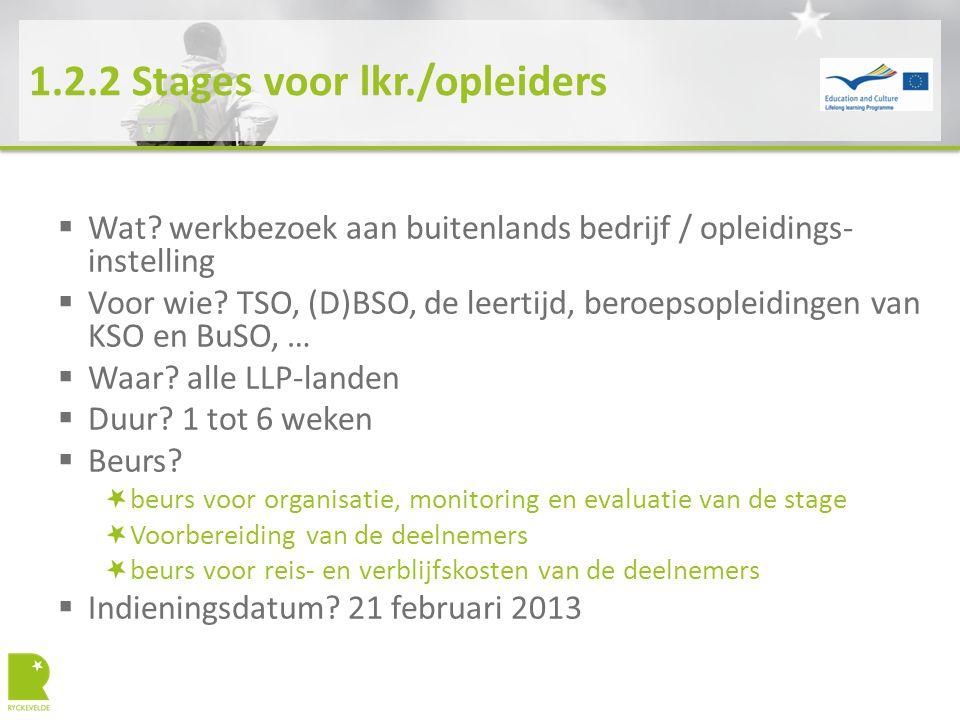 1.2.2 Stages voor lkr./opleiders  Wat? werkbezoek aan buitenlands bedrijf / opleidings- instelling  Voor wie? TSO, (D)BSO, de leertijd, beroepsoplei