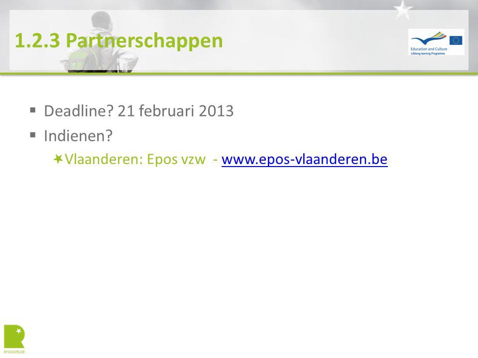 1.2.3 Partnerschappen  Deadline? 21 februari 2013  Indienen? Vlaanderen: Epos vzw - www.epos-vlaanderen.bewww.epos-vlaanderen.be