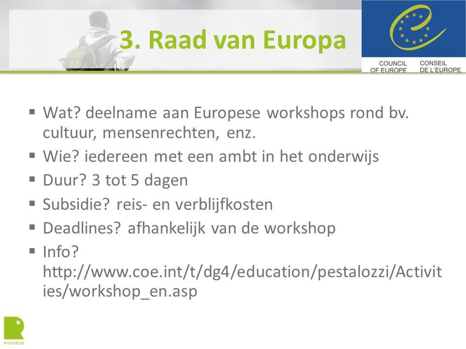 3. Raad van Europa  Wat? deelname aan Europese workshops rond bv. cultuur, mensenrechten, enz.  Wie? iedereen met een ambt in het onderwijs  Duur?