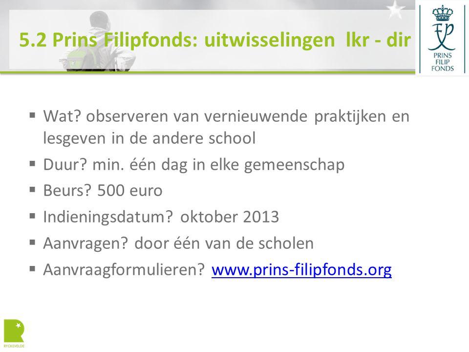 5.2 Prins Filipfonds: uitwisselingen lkr - dir  Wat.