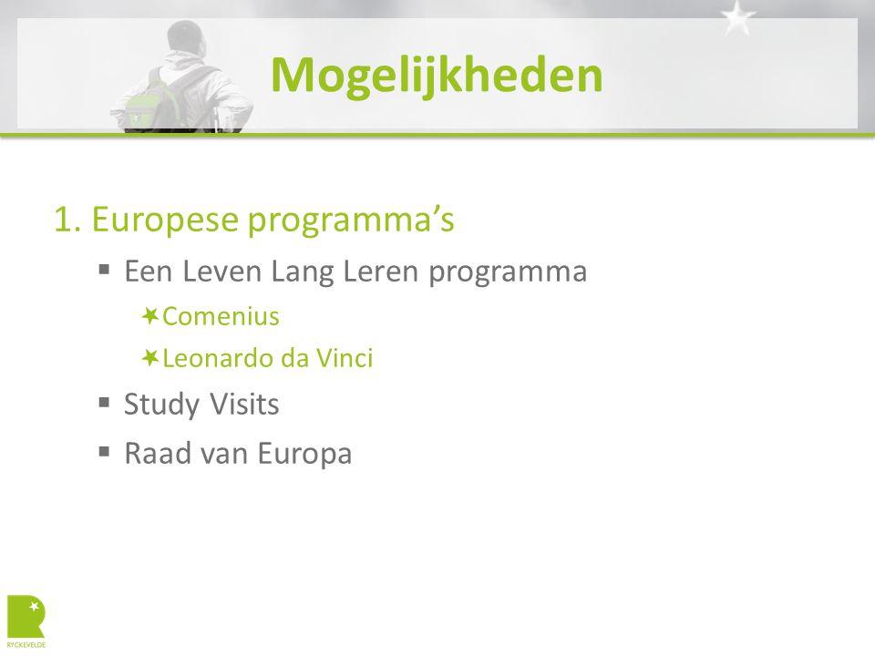 Mogelijkheden 1. Europese programma's  Een Leven Lang Leren programma Comenius Leonardo da Vinci  Study Visits  Raad van Europa