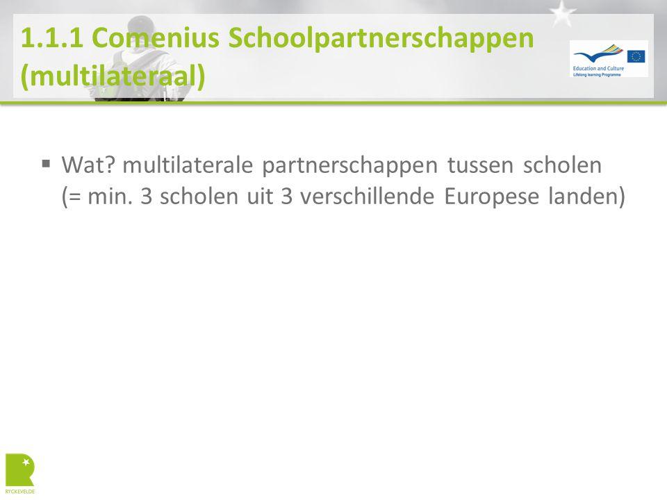 1.1.2 Comenius Schoolpartnerschappen (bilateraal)  Deadline.