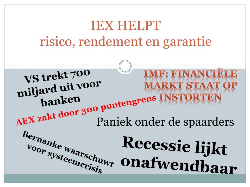 IEX HELPT risico, rendement en garantie VS trekt 700 miljard uit voor banken AEX zakt door 300 puntengrens Recessie lijkt onafwendbaar Bernanke waarschuwt voor systeemcrisis Paniek onder de spaarders