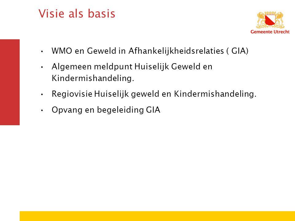 Visie als basis WMO en Geweld in Afhankelijkheidsrelaties ( GIA) Algemeen meldpunt Huiselijk Geweld en Kindermishandeling.