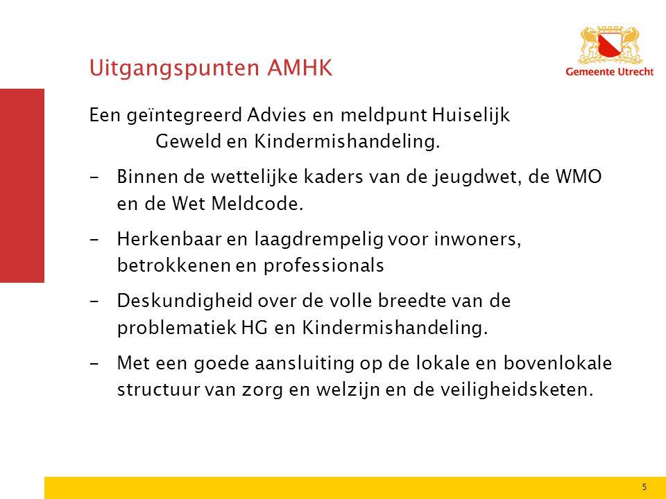 Uitgangspunten AMHK Een geïntegreerd Advies en meldpunt Huiselijk Geweld en Kindermishandeling.