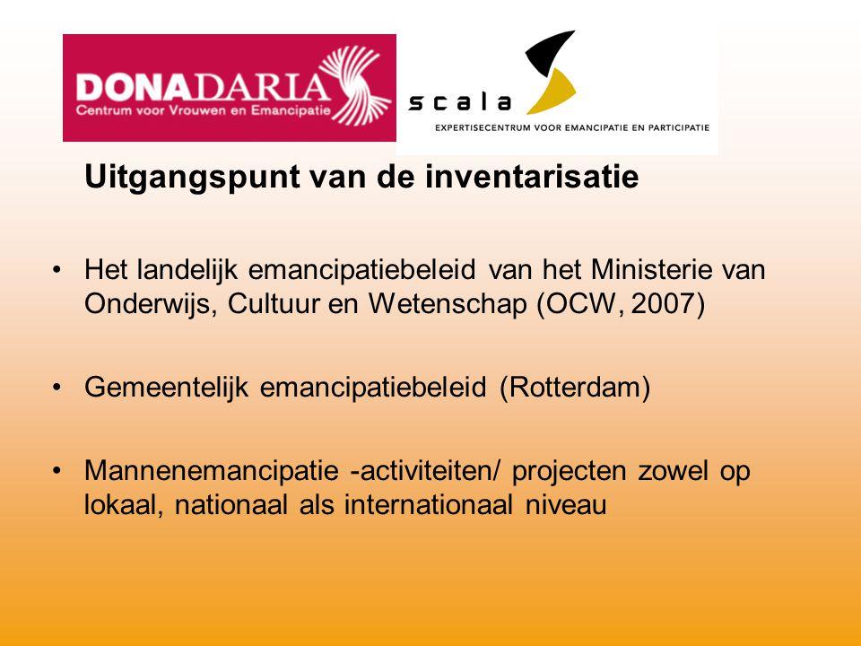 Uitgangspunt van de inventarisatie Het landelijk emancipatiebeleid van het Ministerie van Onderwijs, Cultuur en Wetenschap (OCW, 2007) Gemeentelijk em