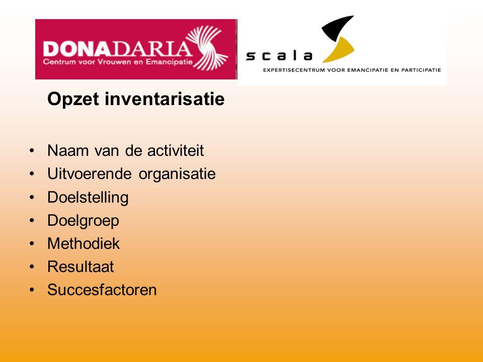 Opzet inventarisatie Naam van de activiteit Uitvoerende organisatie Doelstelling Doelgroep Methodiek Resultaat Succesfactoren