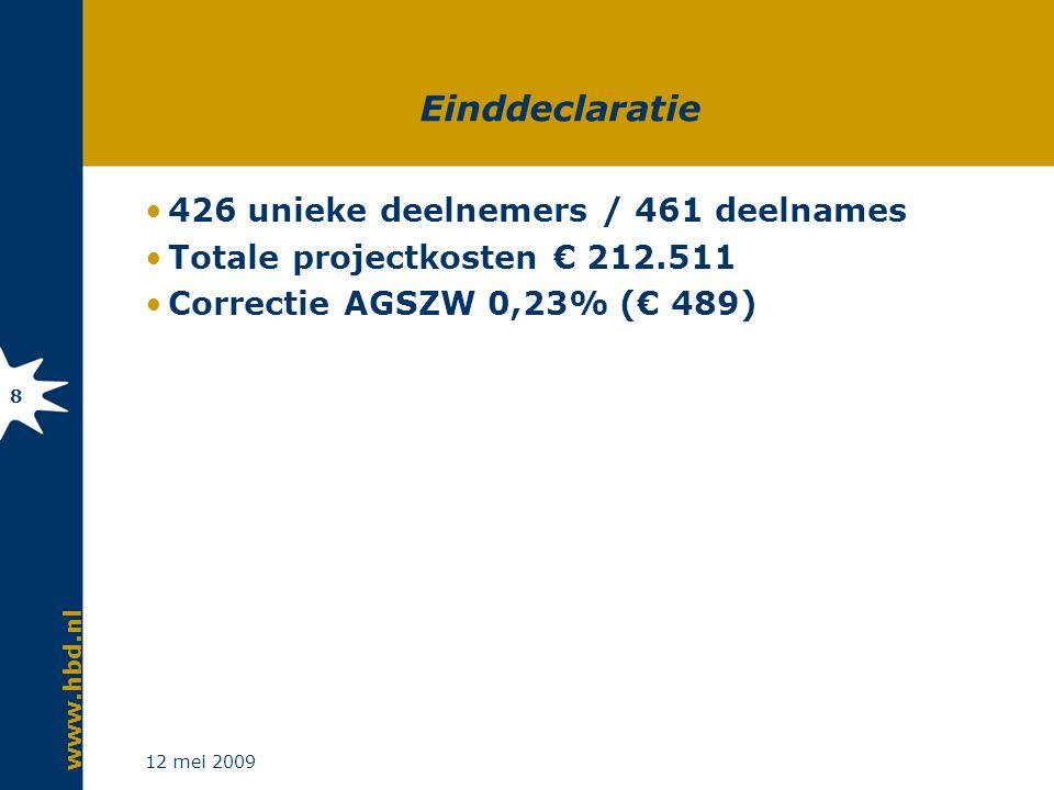 www.hbd.nl 12 mei 2009 8 Einddeclaratie 426 unieke deelnemers / 461 deelnames Totale projectkosten € 212.511 Correctie AGSZW 0,23% (€ 489)