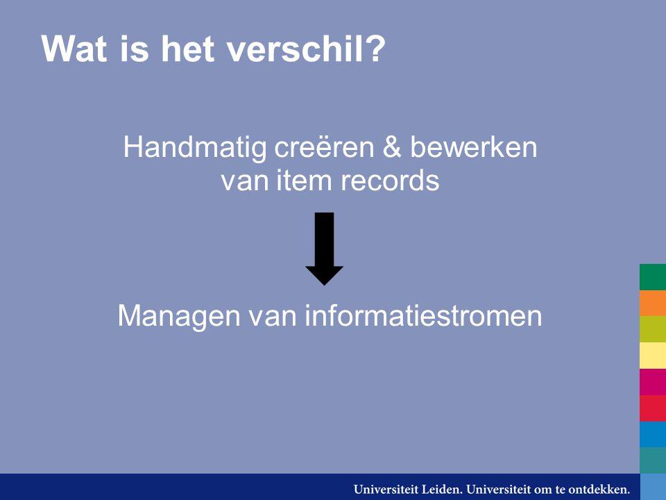Wat is het verschil Handmatig creëren & bewerken van item records Managen van informatiestromen