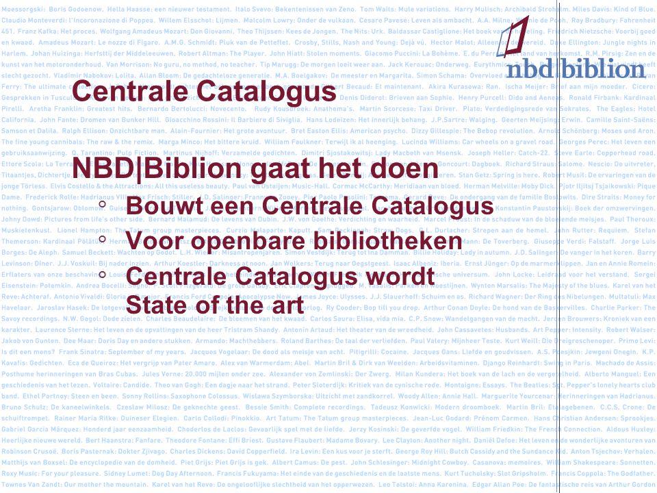 Centrale Catalogus NBD|Biblion gaat het doen ° Bouwt een Centrale Catalogus ° Voor openbare bibliotheken ° Centrale Catalogus wordt State of the art