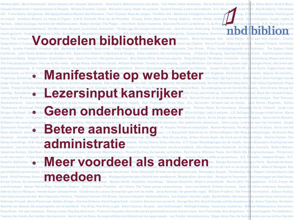 Voordelen bibliotheken Manifestatie op web beter Lezersinput kansrijker Geen onderhoud meer Betere aansluiting administratie Meer voordeel als anderen meedoen