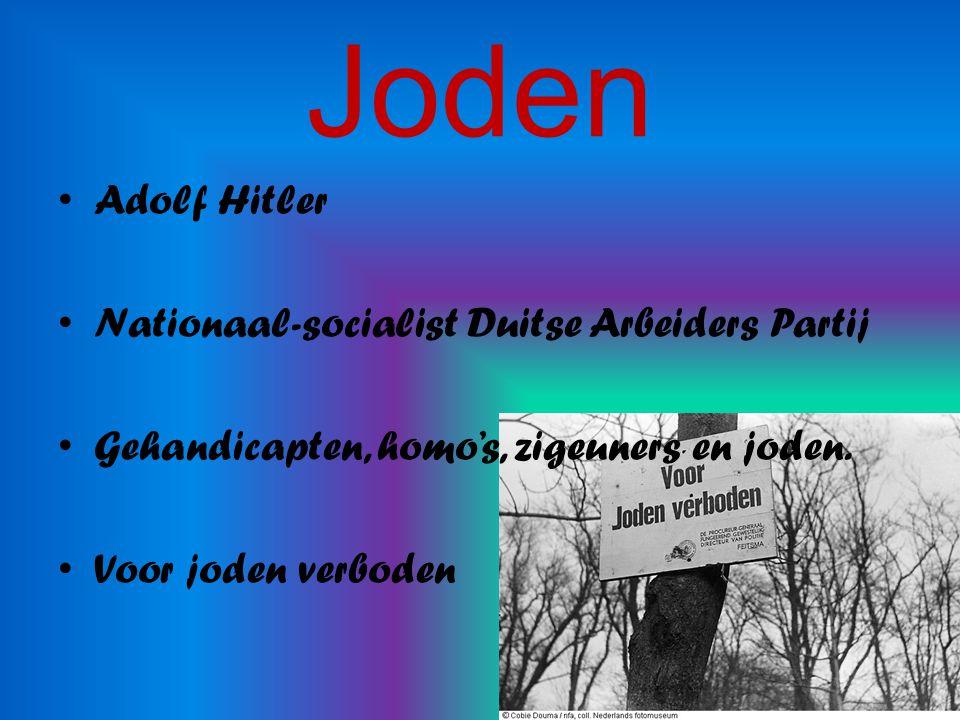 Joden Adolf Hitler Nationaal-socialist Duitse Arbeiders Partij Gehandicapten, homo's, zigeuners en joden.