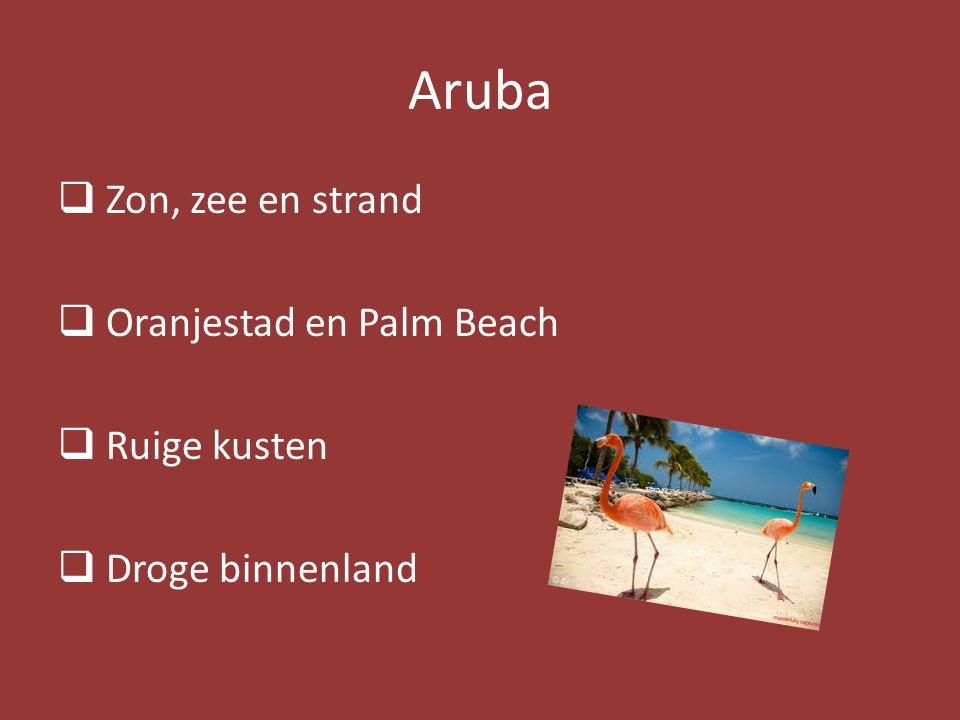 Aruba  Zon, zee en strand  Oranjestad en Palm Beach  Ruige kusten  Droge binnenland