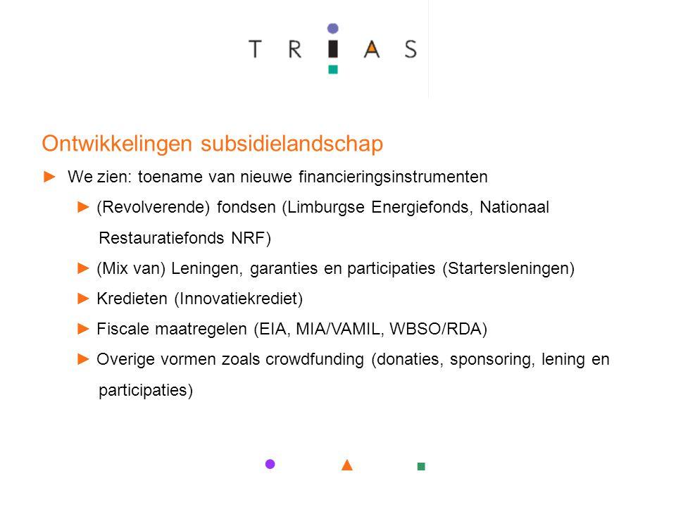 ● ▲ ■ Ontwikkelingen subsidielandschap ► We zien: toename van nieuwe financieringsinstrumenten ► (Revolverende) fondsen (Limburgse Energiefonds, Nationaal Restauratiefonds NRF) ► (Mix van) Leningen, garanties en participaties (Startersleningen) ► Kredieten (Innovatiekrediet) ► Fiscale maatregelen (EIA, MIA/VAMIL, WBSO/RDA) ► Overige vormen zoals crowdfunding (donaties, sponsoring, lening en participaties)