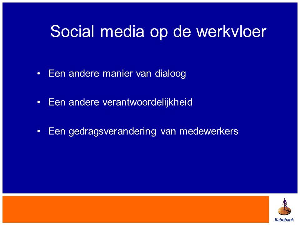 Social media op de werkvloer Een andere manier van dialoog Een andere verantwoordelijkheid Een gedragsverandering van medewerkers