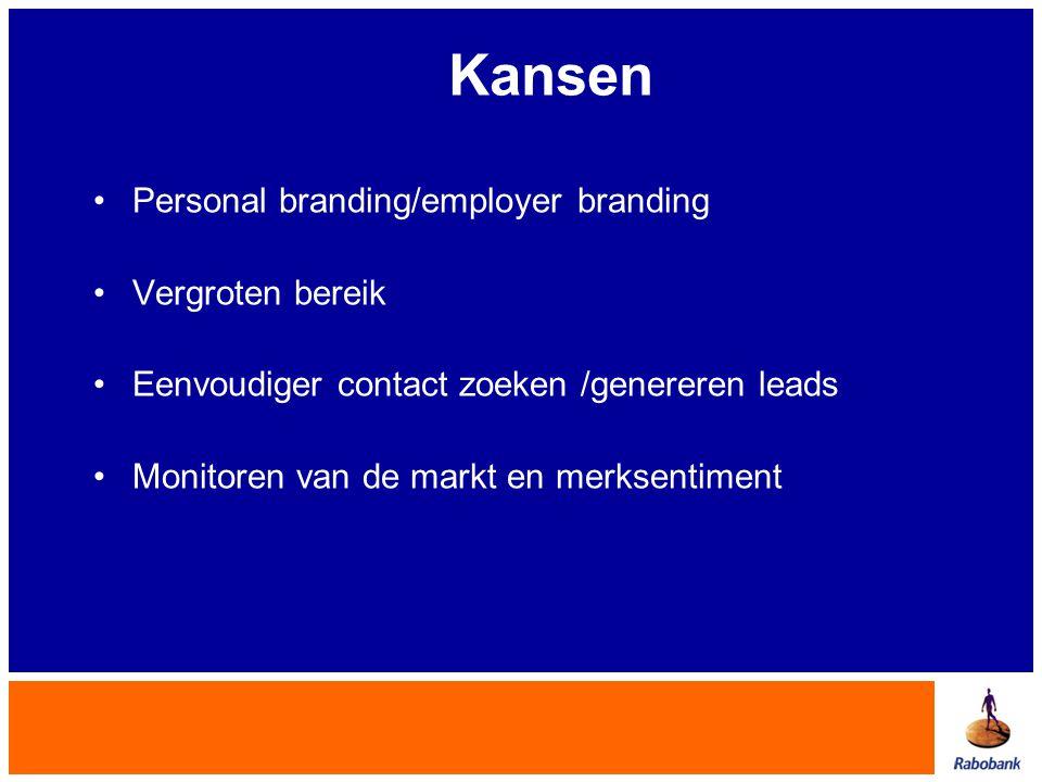 Kansen Personal branding/employer branding Vergroten bereik Eenvoudiger contact zoeken /genereren leads Monitoren van de markt en merksentiment