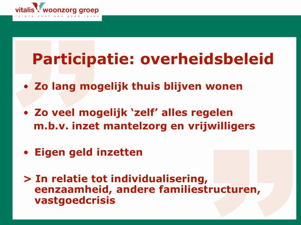 Participatie: overheidsbeleid Zo lang mogelijk thuis blijven wonen Zo veel mogelijk 'zelf' alles regelen m.b.v.