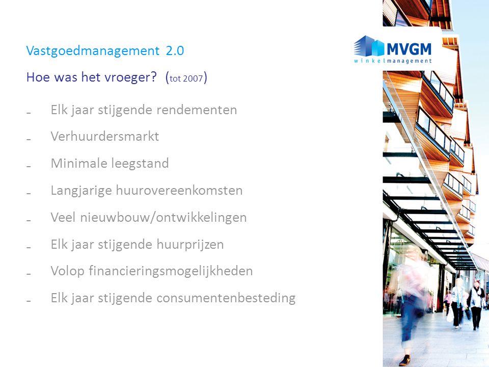Vastgoedmanagement 2.0 Hoe was het vroeger? ( tot 2007 ) ₋ Elk jaar stijgende rendementen ₋ Verhuurdersmarkt ₋ Minimale leegstand ₋ Langjarige huurove