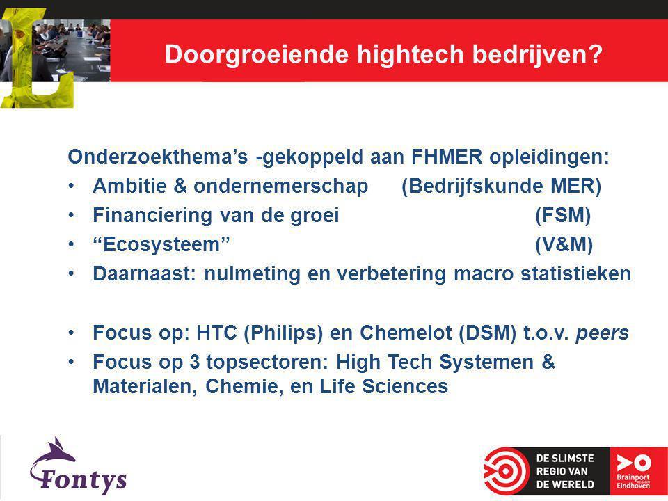 Doorgroeiende hightech bedrijven? Onderzoekthema's -gekoppeld aan FHMER opleidingen: Ambitie & ondernemerschap (Bedrijfskunde MER) Financiering van de