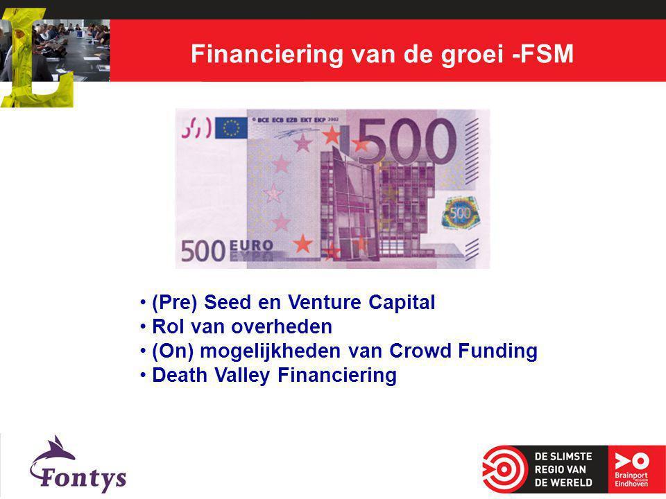 (Pre) Seed en Venture Capital Rol van overheden (On) mogelijkheden van Crowd Funding Death Valley Financiering Financiering van de groei -FSM