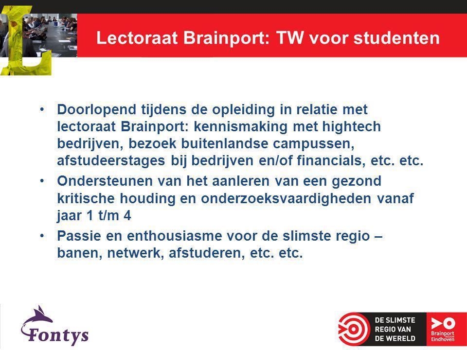 Lectoraat Brainport: TW voor studenten Doorlopend tijdens de opleiding in relatie met lectoraat Brainport: kennismaking met hightech bedrijven, bezoek buitenlandse campussen, afstudeerstages bij bedrijven en/of financials, etc.