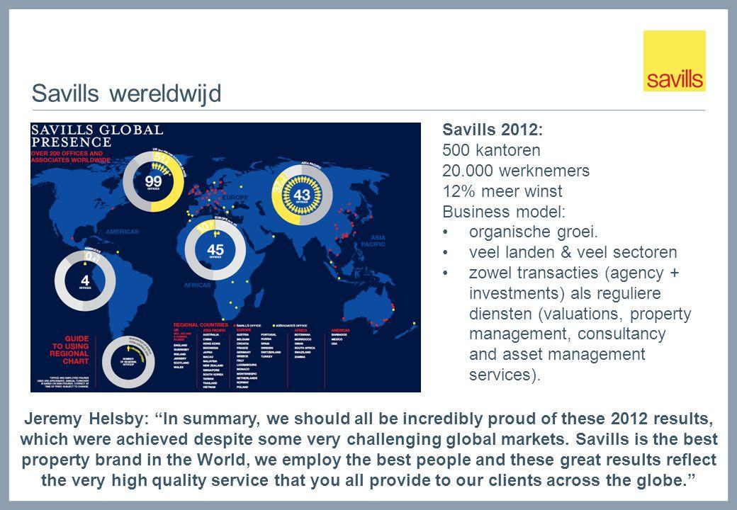 Savills wereldwijd Savills 2012: 500 kantoren 20.000 werknemers 12% meer winst Business model: organische groei. veel landen & veel sectoren zowel tra