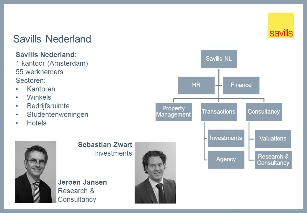 Savills Nederland Jeroen Jansen Research & Consultancy Savills NL Property Management Transactions Agency Investments Consultancy Valuations Research
