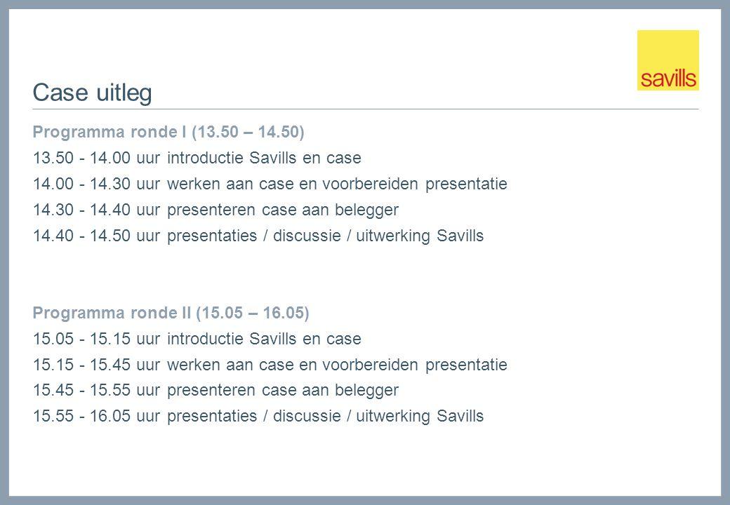 Case uitleg Programma ronde I (13.50 – 14.50) 13.50 - 14.00 uur introductie Savills en case 14.00 - 14.30 uurwerken aan case en voorbereiden presentatie 14.30 - 14.40 uurpresenteren case aan belegger 14.40 - 14.50 uurpresentaties / discussie / uitwerking Savills Programma ronde II (15.05 – 16.05) 15.05 - 15.15 uur introductie Savills en case 15.15 - 15.45 uurwerken aan case en voorbereiden presentatie 15.45 - 15.55 uurpresenteren case aan belegger 15.55 - 16.05 uurpresentaties / discussie / uitwerking Savills