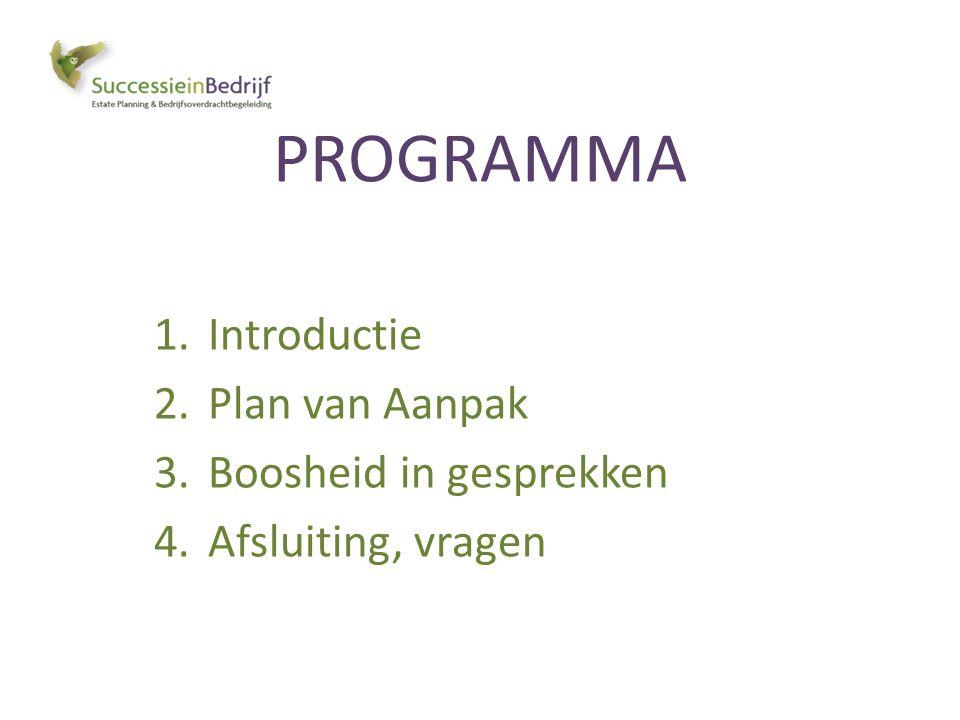 PROGRAMMA 1.Introductie 2.Plan van Aanpak 3.Boosheid in gesprekken 4.Afsluiting, vragen