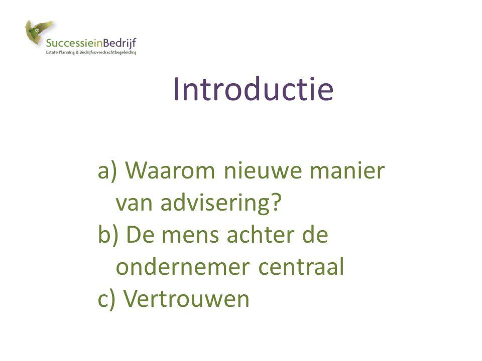 Introductie a) Waarom nieuwe manier van advisering? b) De mens achter de ondernemer centraal c) Vertrouwen
