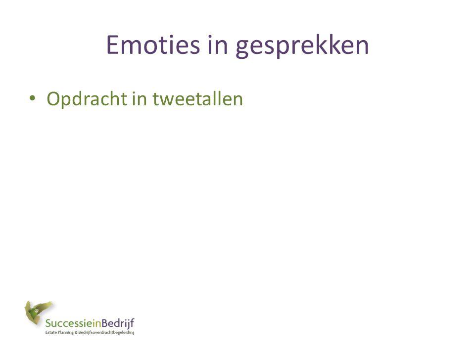 Emoties in gesprekken Opdracht in tweetallen
