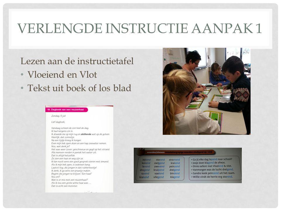 VERLENGDE INSTRUCTIE AANPAK 1 Lezen aan de instructietafel Vloeiend en Vlot Tekst uit boek of los blad