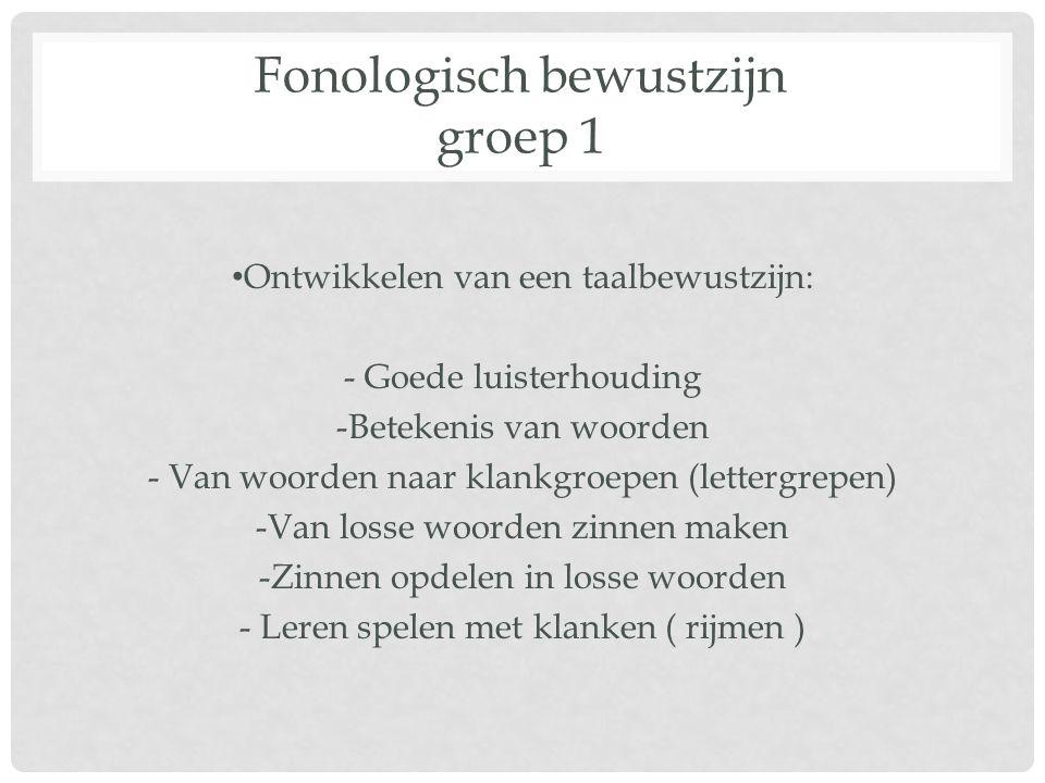 Fonologisch bewustzijn groep 1 Ontwikkelen van een taalbewustzijn: - Goede luisterhouding -Betekenis van woorden - Van woorden naar klankgroepen (lett