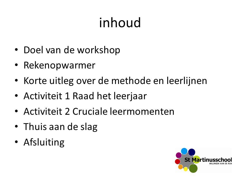 inhoud Doel van de workshop Rekenopwarmer Korte uitleg over de methode en leerlijnen Activiteit 1 Raad het leerjaar Activiteit 2 Cruciale leermomenten