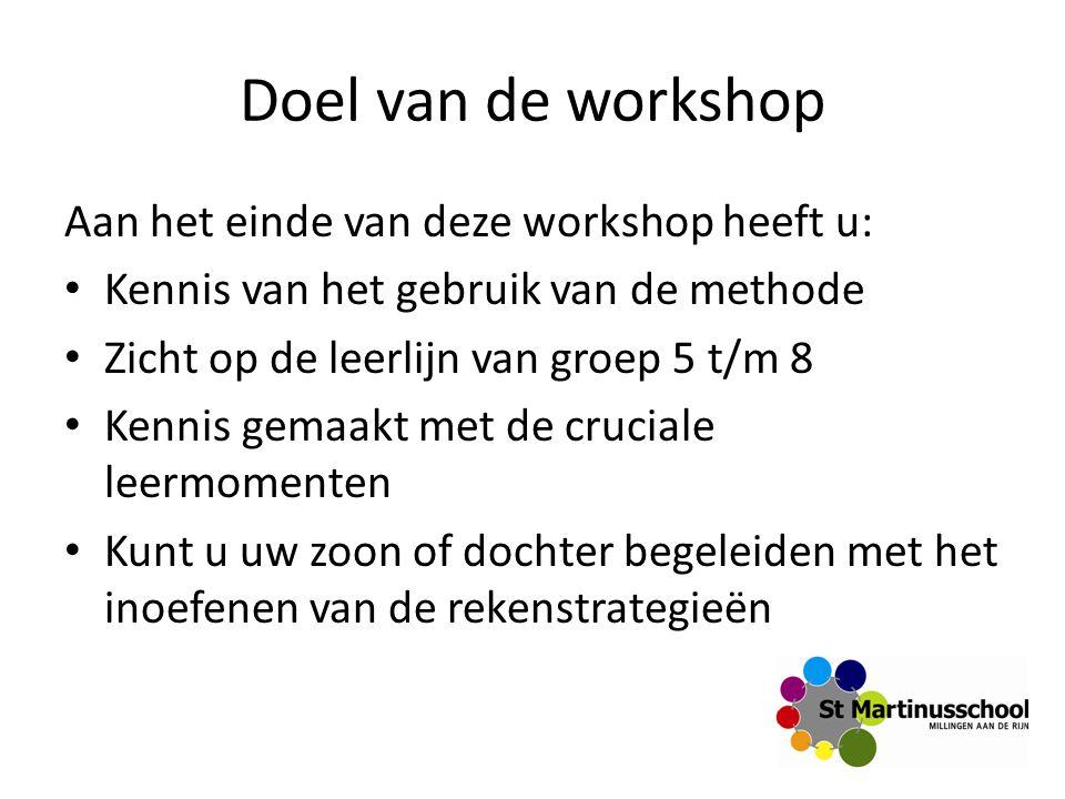 Doel van de workshop Aan het einde van deze workshop heeft u: Kennis van het gebruik van de methode Zicht op de leerlijn van groep 5 t/m 8 Kennis gema
