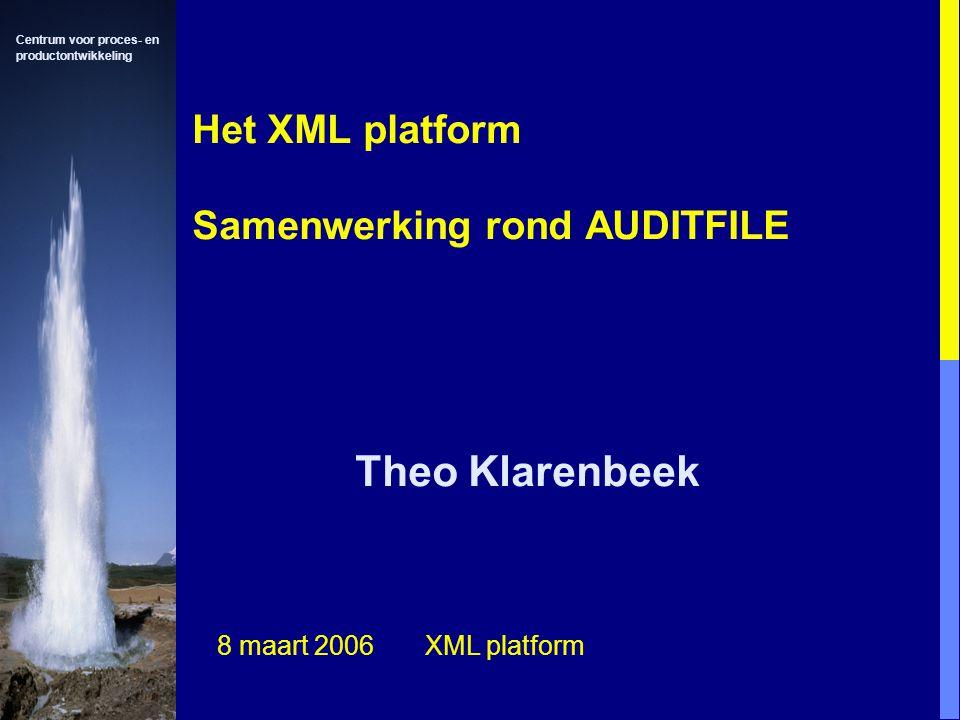 Centrum voor proces- en productontwikkeling Het XML platform Samenwerking rond AUDITFILE Theo Klarenbeek 8 maart 2006 XML platform