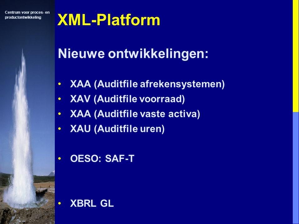 Centrum voor proces- en productontwikkeling XML Nieuwe ontwikkelingen: XAA (Auditfile afrekensystemen) XAV (Auditfile voorraad) XAA (Auditfile vaste activa) XAU (Auditfile uren) OESO: SAF-T XBRL GL XML-Platform