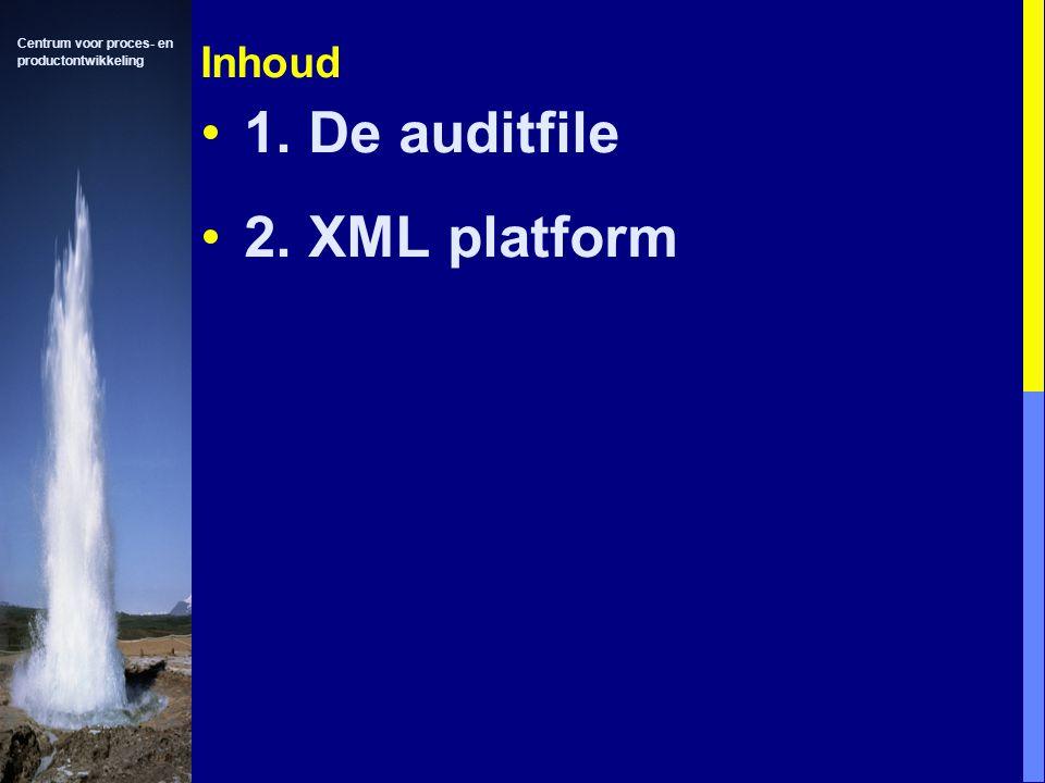 Centrum voor proces- en productontwikkeling Inhoud 1. De auditfile 2. XML platform