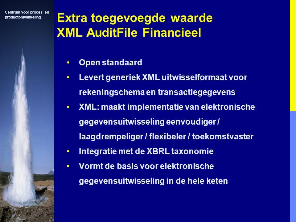 Centrum voor proces- en productontwikkeling Extra toegevoegde waarde XML AuditFile Financieel Open standaard Levert generiek XML uitwisselformaat voor rekeningschema en transactiegegevens XML: maakt implementatie van elektronische gegevensuitwisseling eenvoudiger / laagdrempeliger / flexibeler / toekomstvaster Integratie met de XBRL taxonomie Vormt de basis voor elektronische gegevensuitwisseling in de hele keten