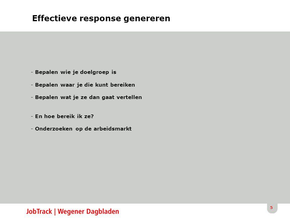 5 Effectieve response genereren - Bepalen wie je doelgroep is - Bepalen waar je die kunt bereiken - Bepalen wat je ze dan gaat vertellen - En hoe bereik ik ze.