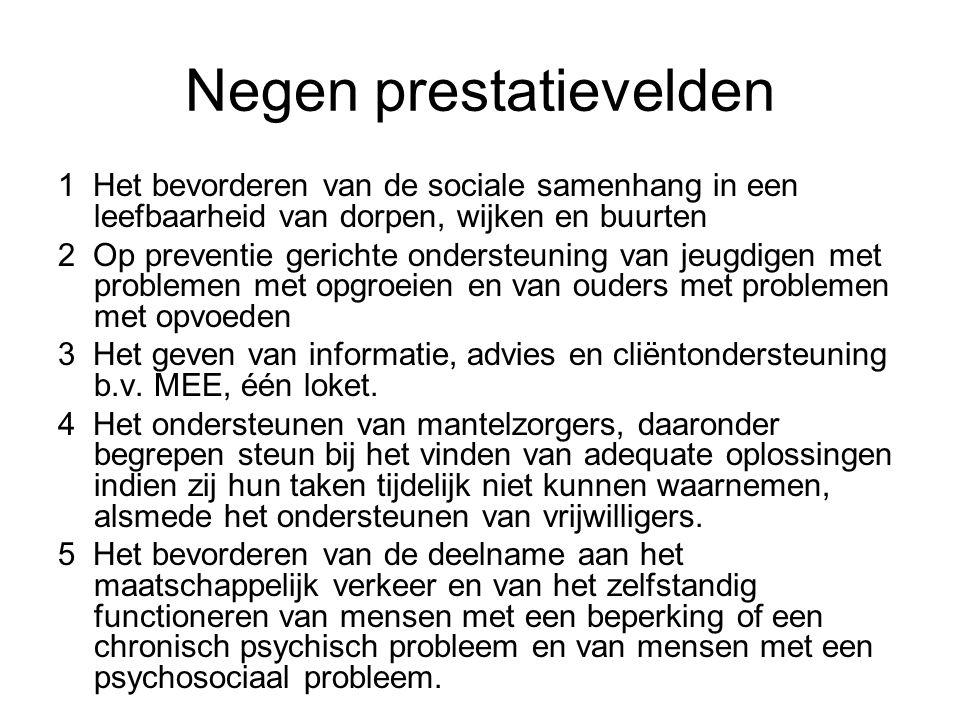 Negen prestatievelden 1 Het bevorderen van de sociale samenhang in een leefbaarheid van dorpen, wijken en buurten 2 Op preventie gerichte ondersteunin