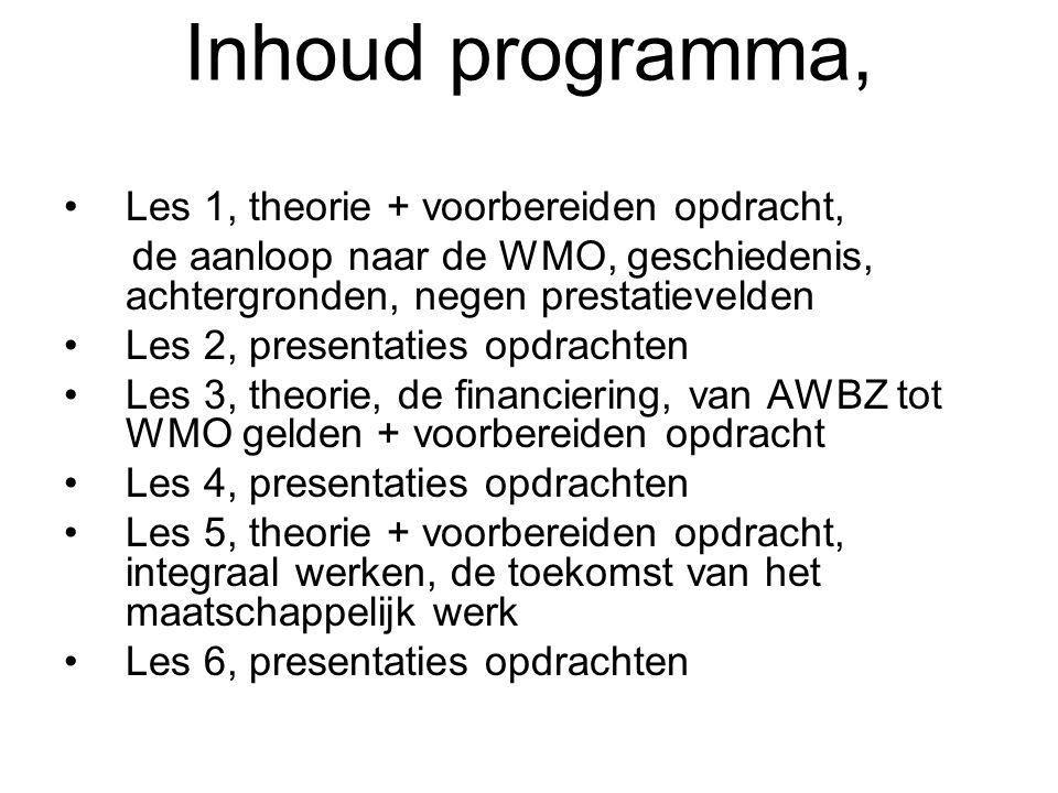 Inhoud programma, Les 1, theorie + voorbereiden opdracht, de aanloop naar de WMO, geschiedenis, achtergronden, negen prestatievelden Les 2, presentati