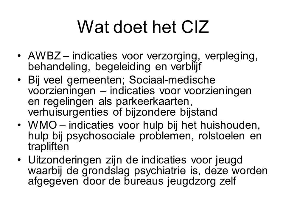 Wat doet het CIZ AWBZ – indicaties voor verzorging, verpleging, behandeling, begeleiding en verblijf Bij veel gemeenten; Sociaal-medische voorzieninge