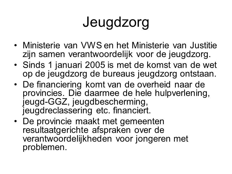 Jeugdzorg Ministerie van VWS en het Ministerie van Justitie zijn samen verantwoordelijk voor de jeugdzorg. Sinds 1 januari 2005 is met de komst van de